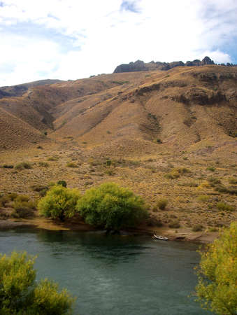 argentina landscape patagonia mountain and river Panorama photo