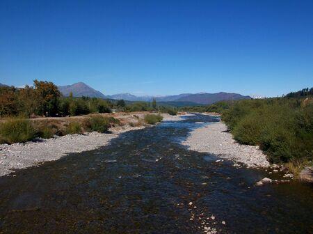 argentina patagonia landscape river mountains el bolson photo