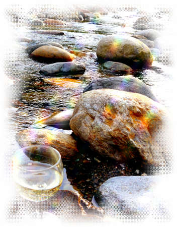 water river stones flow power summer holiday
