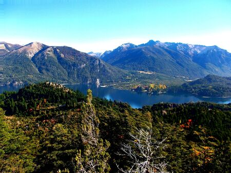 lake argentina: lake and mountains panorama Bariloche Argentina Stock Photo