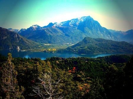 bariloche: lake and mountains panorama Bariloche Argentina Stock Photo