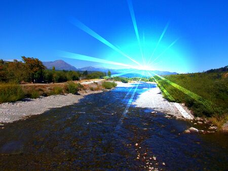 el: River Mountains Argentina El Bolson Stock Photo