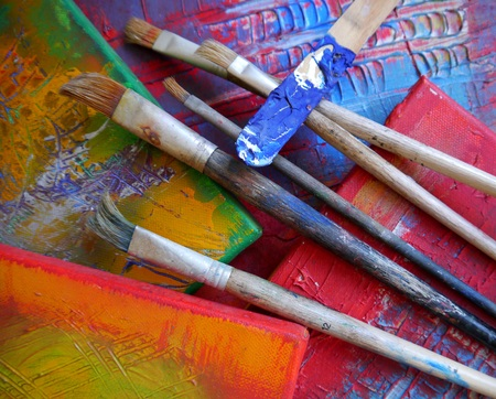 creativ: painting art tools creativ painting colors abstract brush Stock Photo