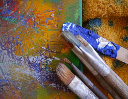 creative tools: Painting Art Tools Creative Painting brush colorful Stock Photo