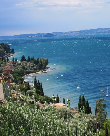 lakeview: Italy Garda Lake of Garda Lake Mountain Stock Photo