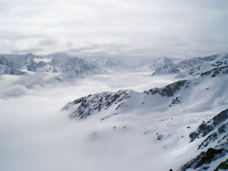 snowlandscape: Snow mountains skiing Austria Soelden hilltop winter landscape