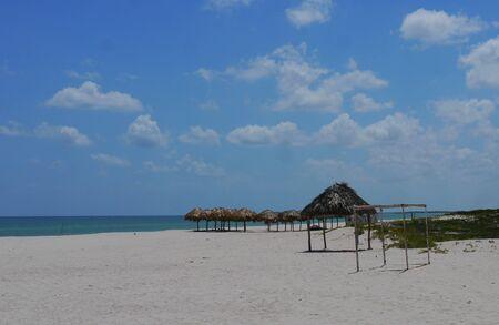 sisal: beach and ocean panoramic summerholiday Sisal Mexico Stock Photo