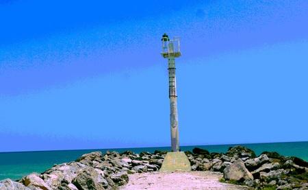 sisal: lighthouse at the beach ocean panorama mexico Sisal