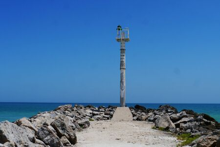 sisal: lighthouse at the beach ocean panorama mexico Sisal