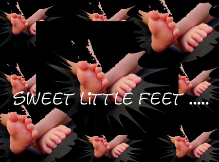 smal: sweet baby feet congratulation card Family mother children Stock Photo