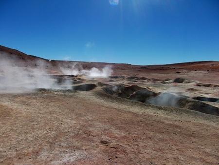 Geyser chile bolivia mountain hot spring water panorama Stock Photo