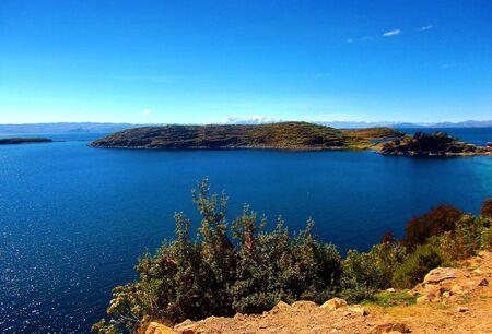 bolivian: Lake Titicaca bay in copacabana in bolivia mountains panorama