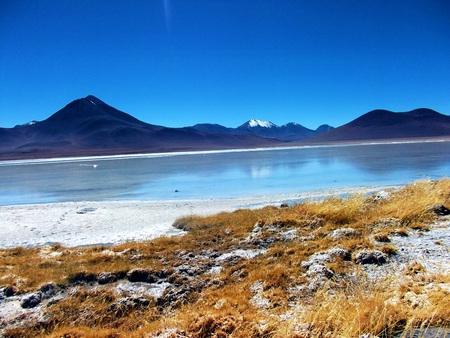 Bolivia mountains and lake lagoon panorama