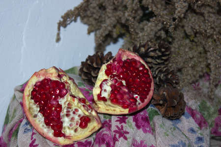 dried pine cones and red peace of pomegranates photo