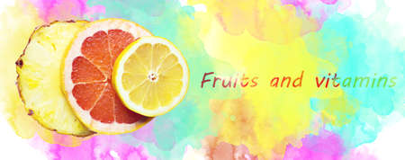 vitamin c: Fruity composition made with slices of lemon, ananas and gapefruit with watercolour background