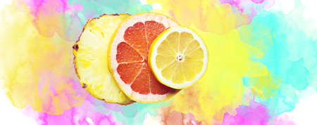 c vitamin: Fruity composition made with slices of lemon, ananas and gapefruit with watercolour background
