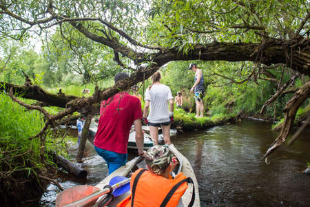 canoeist: Extrime tourism, brunses and trees in water, kayaking on the river. Luchosa, Belarus.