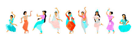 Young women dance in national indian cloth