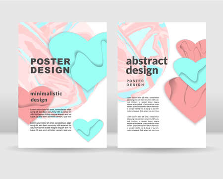 Abstract poster template. Paper hearts concept. It can be used for posters, cards, flyers, brochures, magazines and any kind of cover