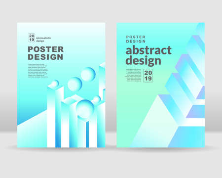 The abstract isometric shapes background. It can be used for print and web Ilustração