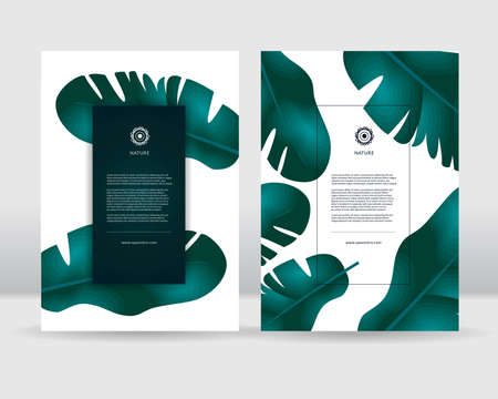 Tropical leaves poster template