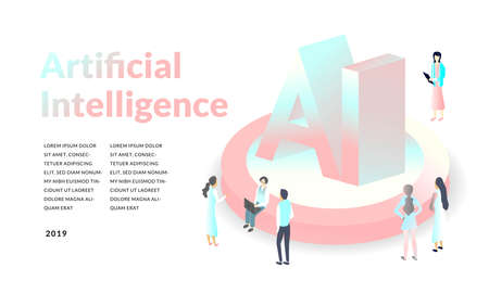 Artificial intelligence concept. isometric 3d illustration. modern technology background.