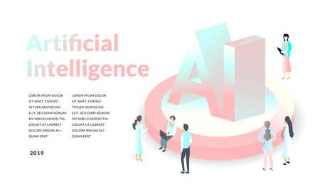 Concetto di intelligenza artificiale. illustrazione 3d isometrica. sfondo di tecnologia moderna.