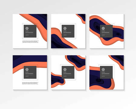 Abstract paper cut concept square backgrounds.
