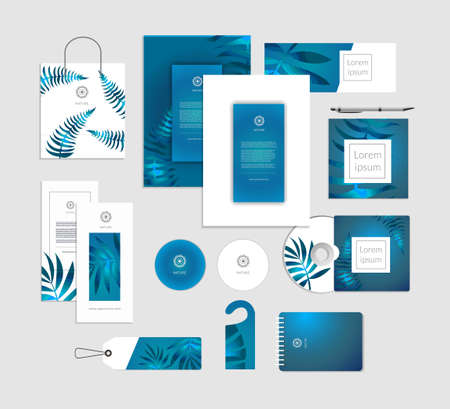 Corporate identity. Tropical leaves luxury concept.