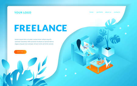 Girl sitting on the armchair works with computer, Freelance. Modern template for landing page. Isometric vector illustration