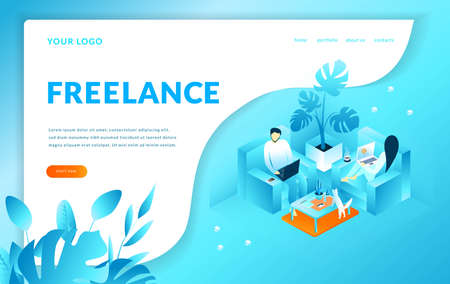 Man and woman sitting on the armchairs works with computer, Freelance. Modern template for landing page. Web page, isometric vector illustration Ilustrace