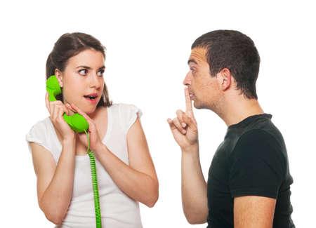 Boyfriend feeling disturbed by the phone calls photo