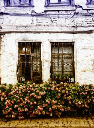 casa vecchia: Vecchia casa finestre Archivio Fotografico