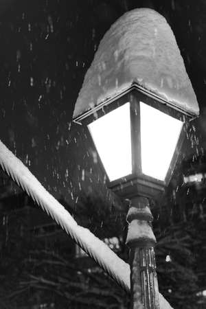 Lamppost in snowy weather photo