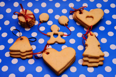 Cookies on blue dotted background photo