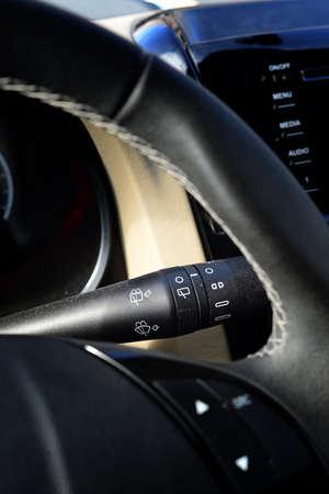 wiper: Wiper switch of a car Stock Photo