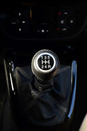 Shift knob 5 speed car close up Stock Photo