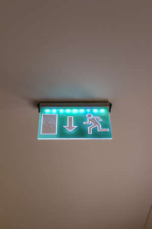 emergency exit: Emergency exit sign on the ceiling