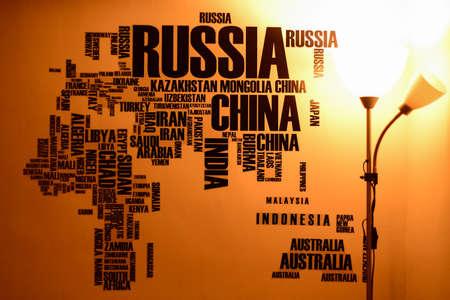 media: Wall sticker world map Stock Photo