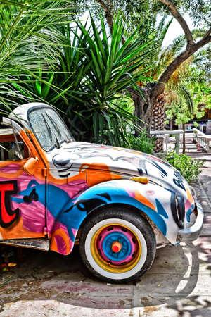 Volkswagen beetle graffiti painted