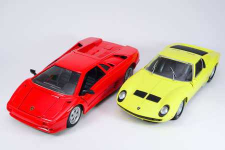 Diecast lamborghinis on isolated background