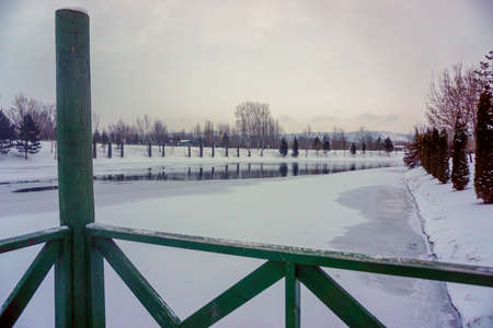 Eskisehir porsuk river in snowy winter