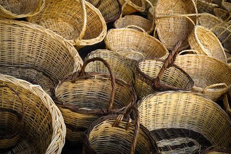 Hand wowen wicker basket texture background