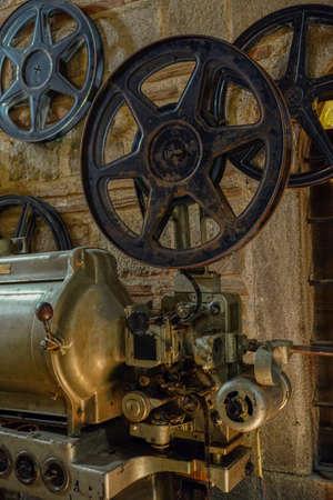 Vintage cinematograph machine close up view Stock Photo