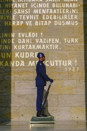 12 October 2019, Ankara Turkey, Anitkabir ceremonic guard duty soldiers standing on duty