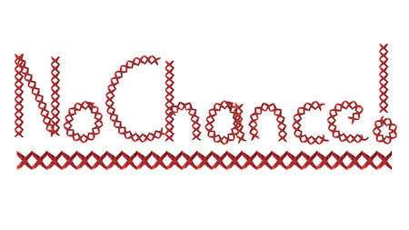 No chance hand writing on white background with cross check pattern