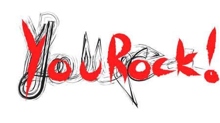 You Rock hand writing illustration Archivio Fotografico
