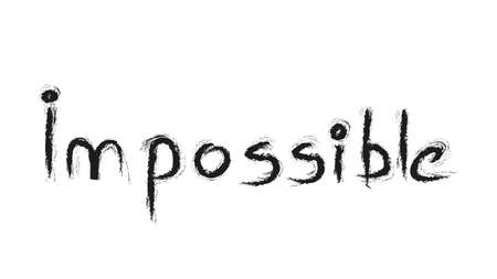 Impossible hand writing black on white background