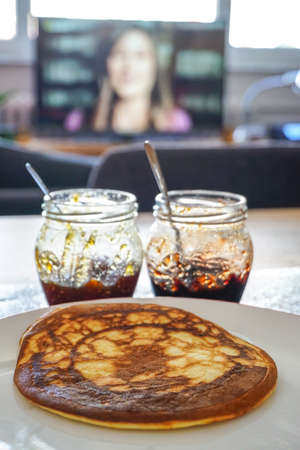 Homemade pancake hazelnut cream and jam breakfast dessert