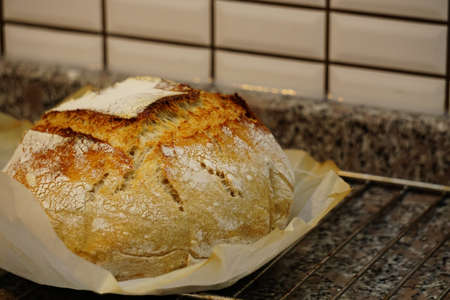 Sour yeast artisan home made baked bread in the kitchen Archivio Fotografico